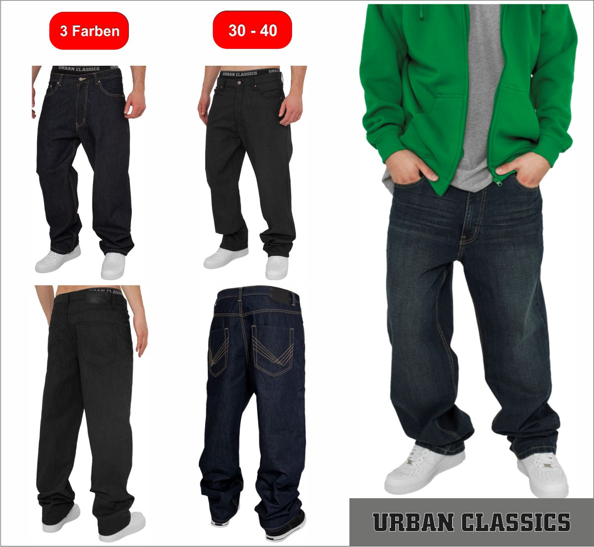 urban classics baggy fit jeans herren jeans hip hop jeans pant. Black Bedroom Furniture Sets. Home Design Ideas