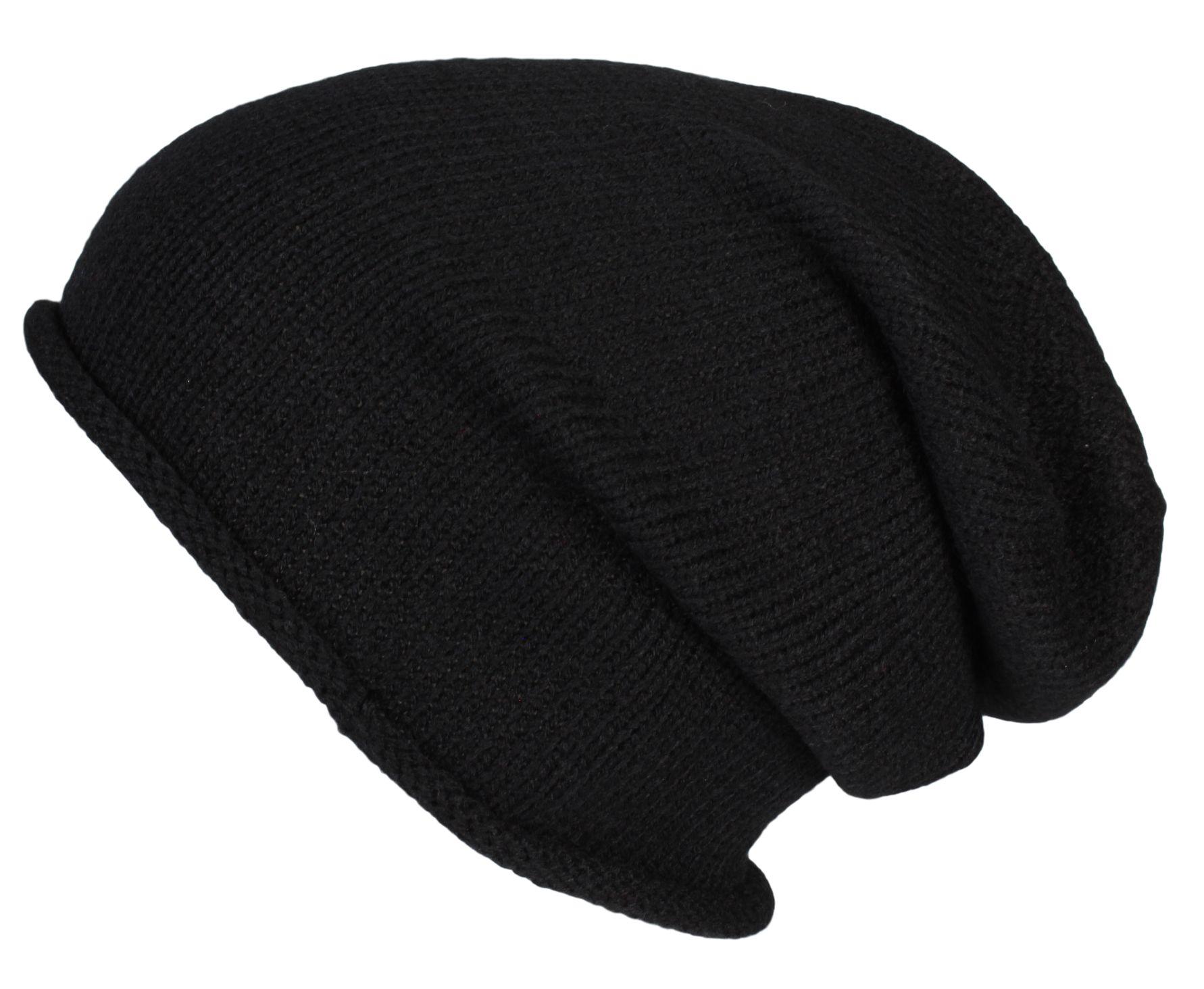Details zu Winter Strick Mütze Long Beanie Strickmütze Herren Damen Mütze Slouch Rollrand